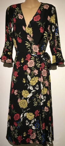 MADISON BLACK FLORAL FULL WRAP 3/4 SLEEVE DRESS BNWT SIZE 12
